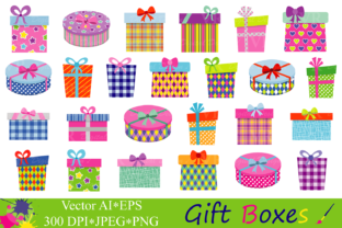 Gift Boxes Clipart / Birthday Party Presents Clip Art / Gifts Vector Graphics / Present Illustrations Graphic Illustrations By VR Digital Design