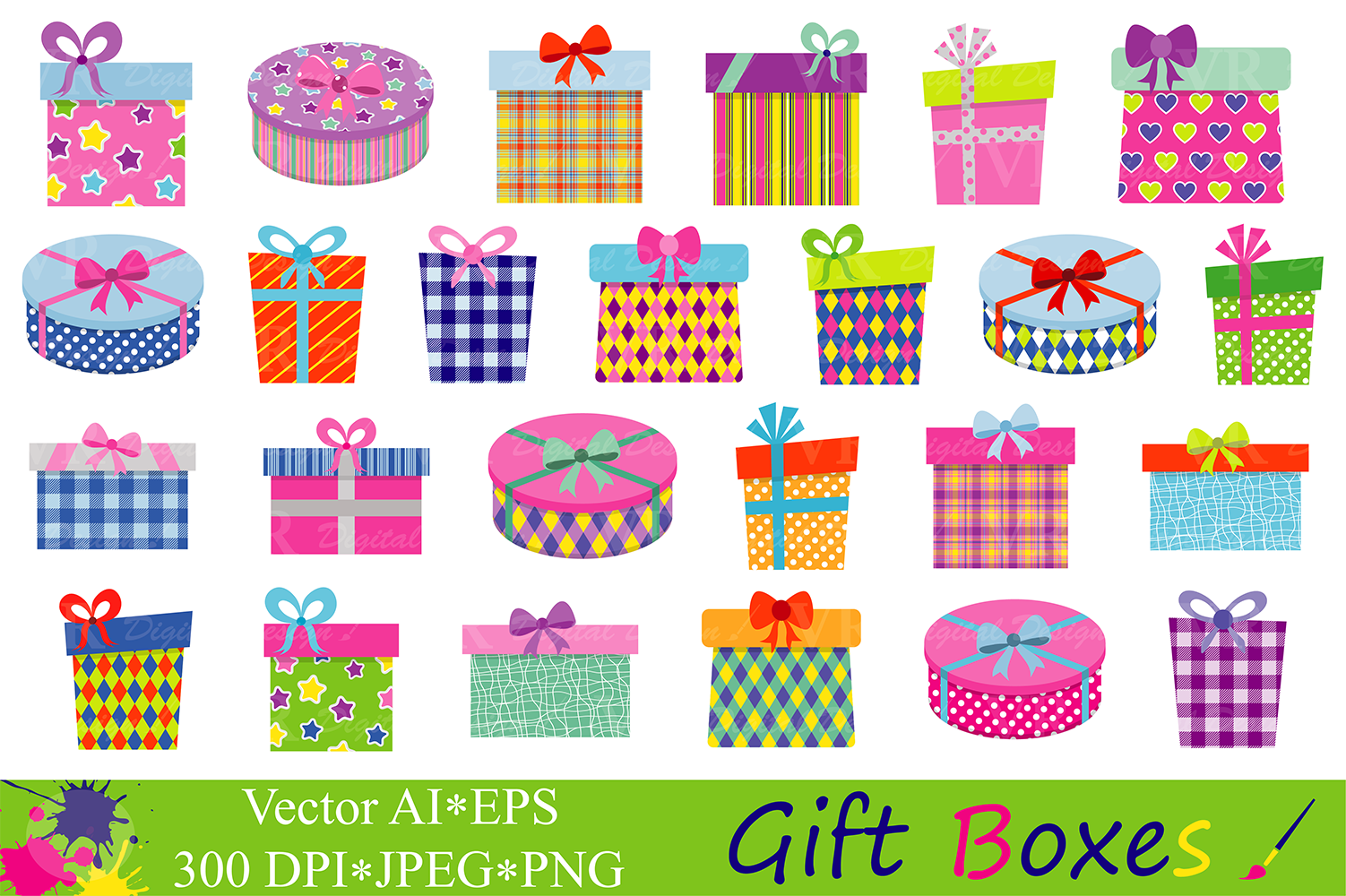 Download Free Gift Boxes Clipart Birthday Party Presents Clip Art Gifts for Cricut Explore, Silhouette and other cutting machines.