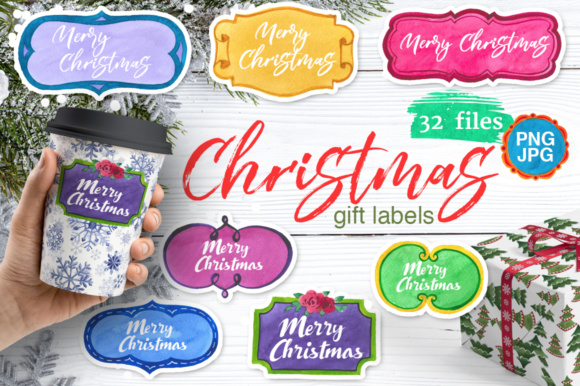 Download Free Gift Labels Watercolor Set Graphic By Mystocks Creative Fabrica for Cricut Explore, Silhouette and other cutting machines.