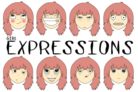 Girl Expressions Graphic By Jen Digital Art