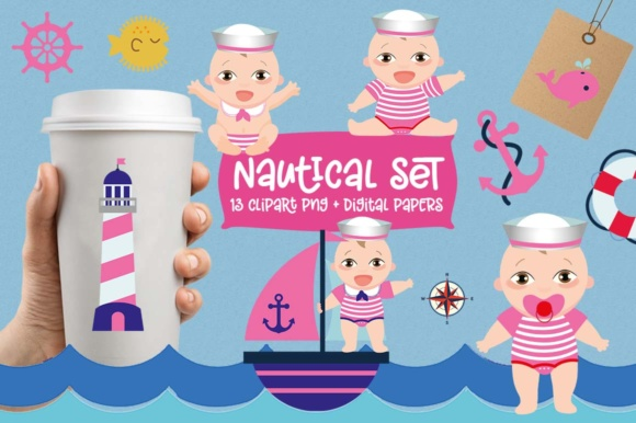 Girl Nautical Clipart Set Graphic By Cute Files Creative Fabrica