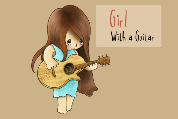 Girl with a Guitar Graphic By Jen Digital Art