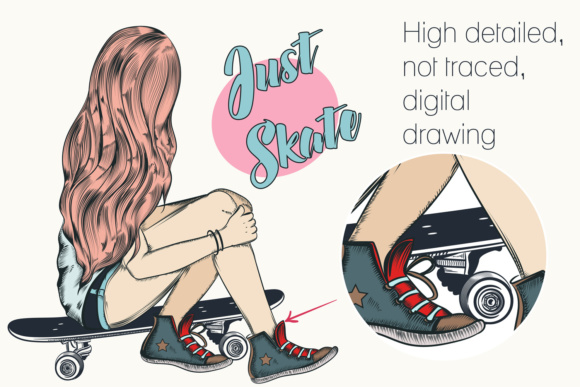 Girl with Skateboard and Guitar Graphic Illustrations By fleurartmariia - Image 2
