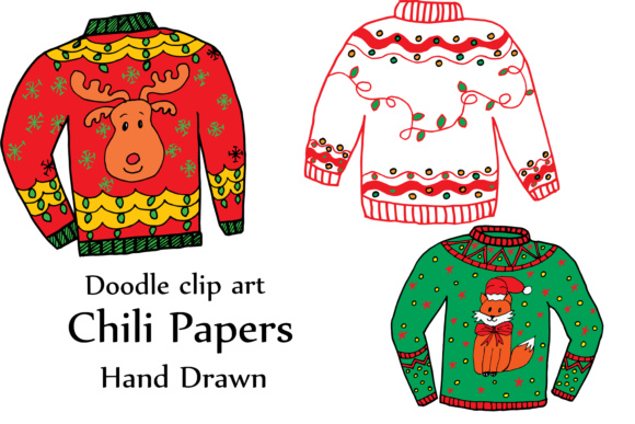 Christmas Sweater Clipart.Gly Sweater Clipart Christmas Clipart Holiday Clipart Doodle Clipart Ugly Sweaters