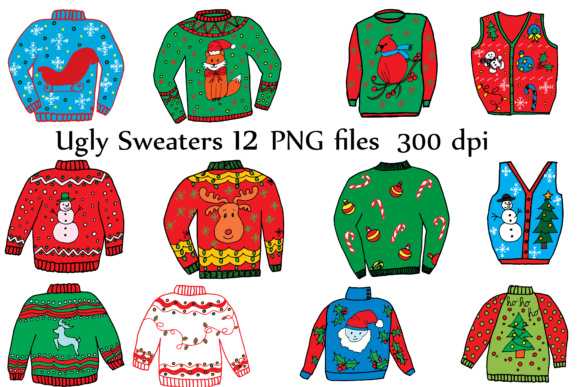 Gly Sweater ClipArt, CHRISTMAS CLIPART, Holiday Clipart Doodle Clipart Ugly Sweaters Graphic Crafts By ChiliPapers