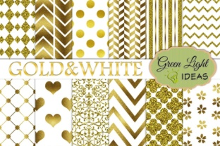Gold and White Digital Papers, Gold Glitter Wedding Backgrounds Graphic Backgrounds By GreenLightIdeas