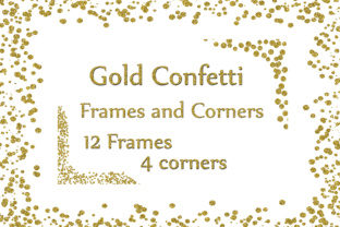 Print on Demand: Gold Confetti Frames, GOLD FRAMES, Gold Glitter Frames Gold Glitter Overlay Graphic Crafts By ChiliPapers