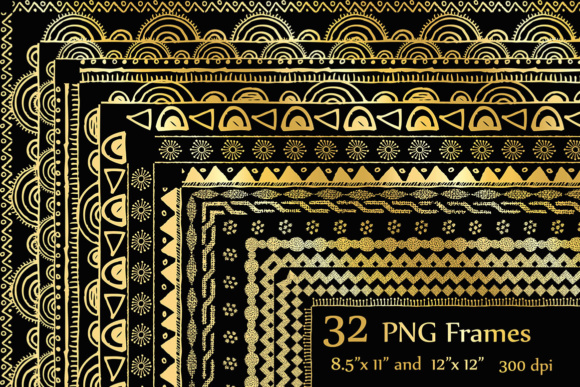 Gold Doodle Frame Clipart, FRAME CLIPART, Doodle Border Frame Graphic Gold Doodle Graphic Crafts By ChiliPapers