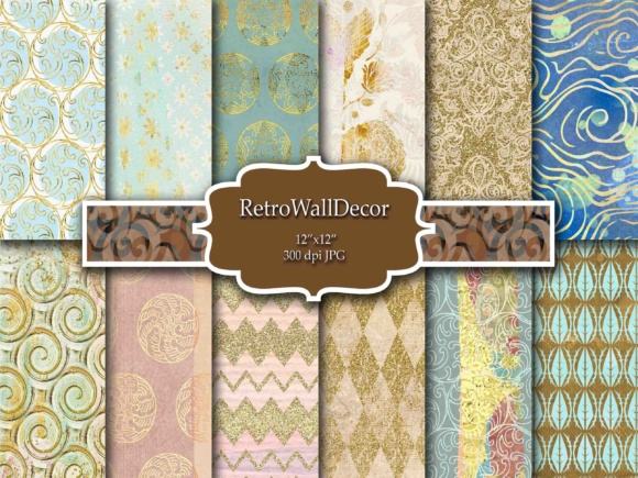 Print on Demand: Gold Digital Papers Graphic Backgrounds By retrowalldecor
