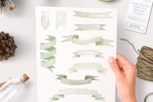 Green Watercolor Banners Graphic Illustrations By By Lef