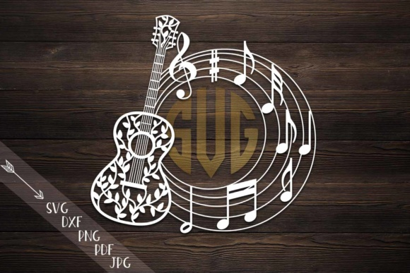 Guitar Circle Monogram Graphic Crafts By Cornelia
