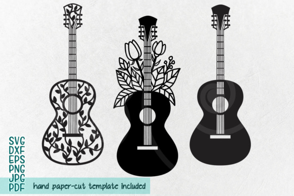 Download Free Guitar Guitar With Flowers Decorative Zentagle Guitar Graphic for Cricut Explore, Silhouette and other cutting machines.