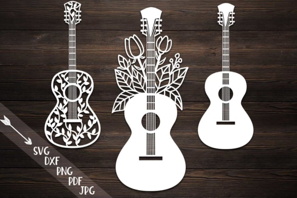 Guitar, Guitar with Flowers, Decorative Zentagle Guitar Graphic Crafts By Cornelia