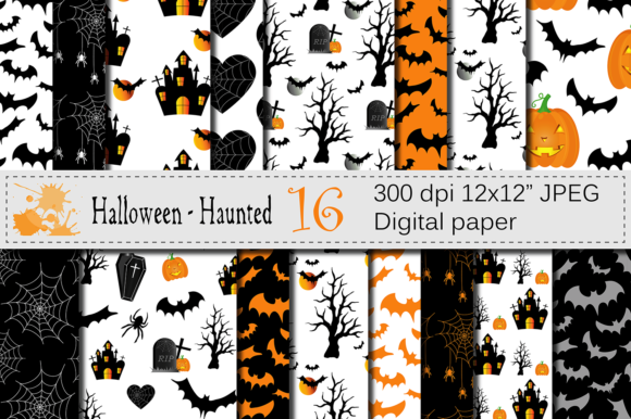 Halloween Digital Papers Graphic Backgrounds By VR Digital Design