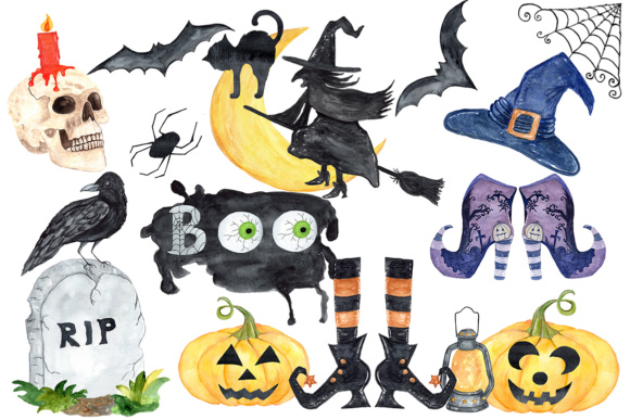 Halloween Clipart, Watercolor Halloween Clip Art,Witches Hat,Witches Shoes Graphic Illustrations By ChiliPapers