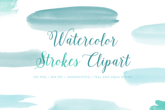 Download Free Hand Painted Watercolor Strokes Teal Graphic By By Lef for Cricut Explore, Silhouette and other cutting machines.