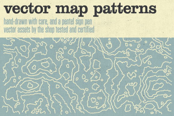 Hand-drawn Vector Map Patterns Graphic Objects By theshopdesignstudio