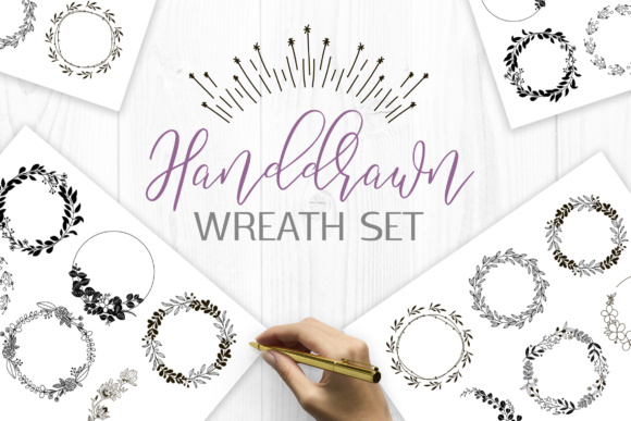 Handdrawn Wreaths Clipart