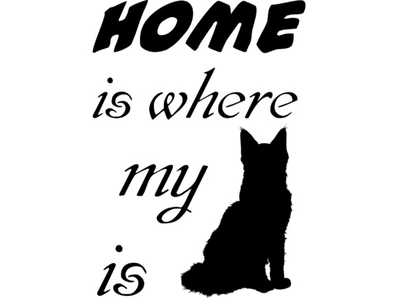 Home is Where My Cat is SVG DXF EPS PNG Graphic By twelvepapers