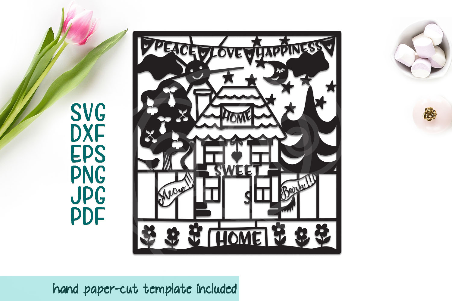 Download Free Home Sweet Home Papercutting Template Graphic By Cornelia for Cricut Explore, Silhouette and other cutting machines.