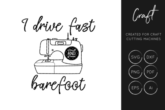 Download Free I Drive Fast And Barefoot Svg Graphic By Illuztrate Creative for Cricut Explore, Silhouette and other cutting machines.