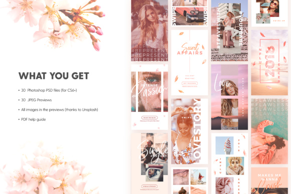 Instagram Stories - Blush Emotions Graphic Print Templates By lavie1blonde - Image 2