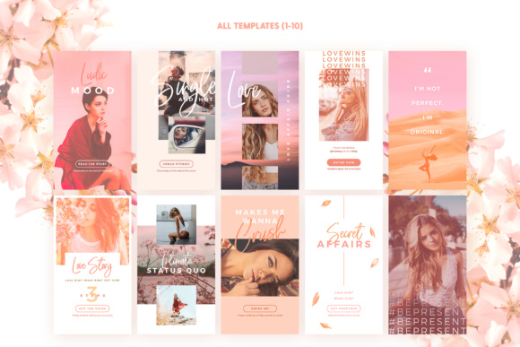 Print on Demand: Instagram Stories - Blush Emotions Graphic Print Templates By lavie1blonde - Image 3