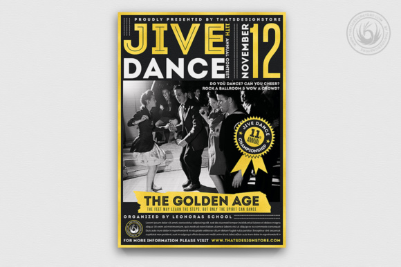 Jive Dance Flyer Template Graphic Print Templates By ThatsDesignStore - Image 2