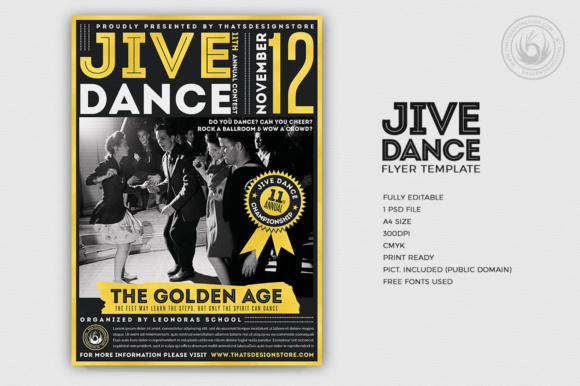 Jive Dance Flyer Template Graphic Print Templates By ThatsDesignStore - Image 1