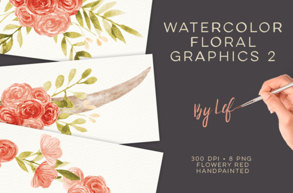 Lovely Red and Pink Watercolor Florals. Graphic Illustrations By By Lef