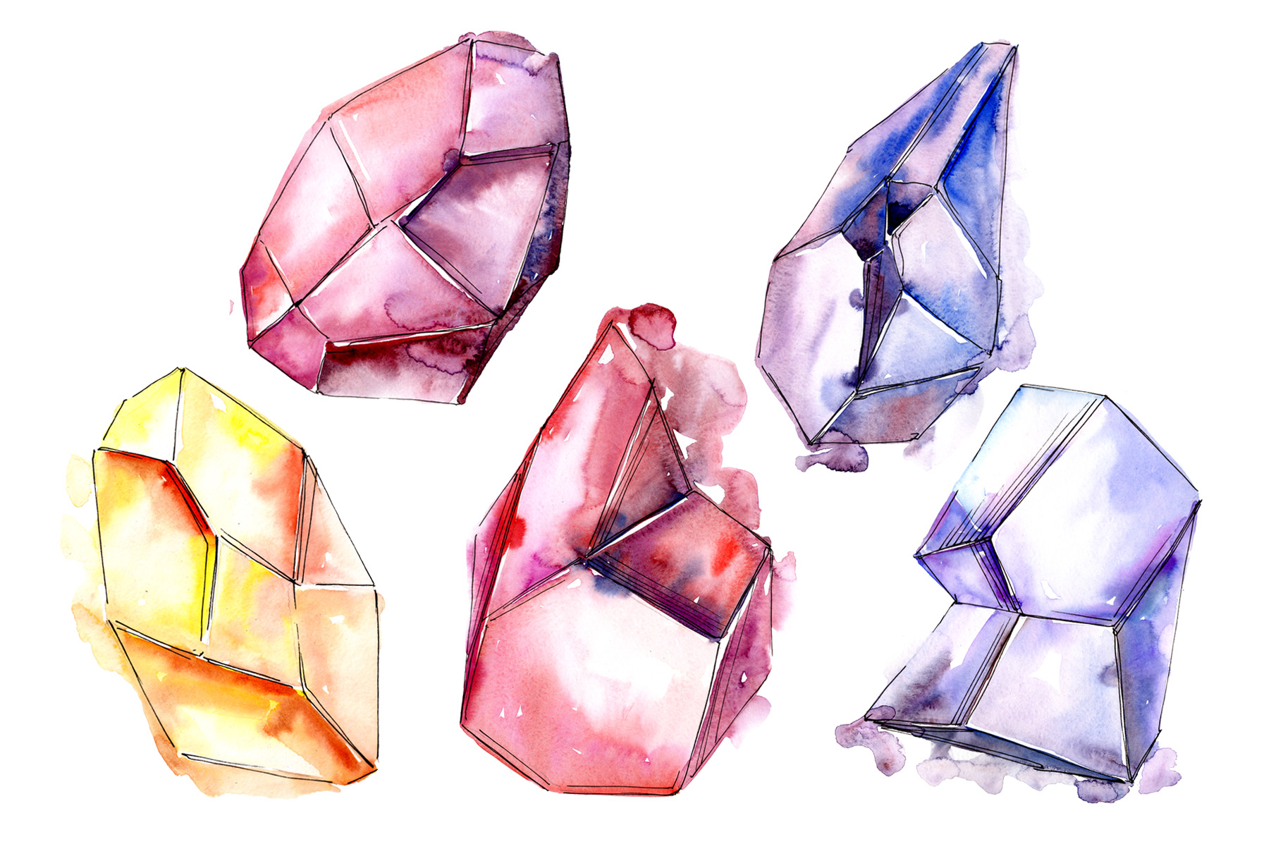 Download Free Magic Crystals Watercolor Set Graphic By Mystocks Creative Fabrica for Cricut Explore, Silhouette and other cutting machines.