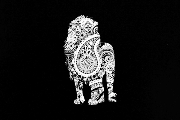 Mandala White Lion Graphic Illustrations By twelvepapers