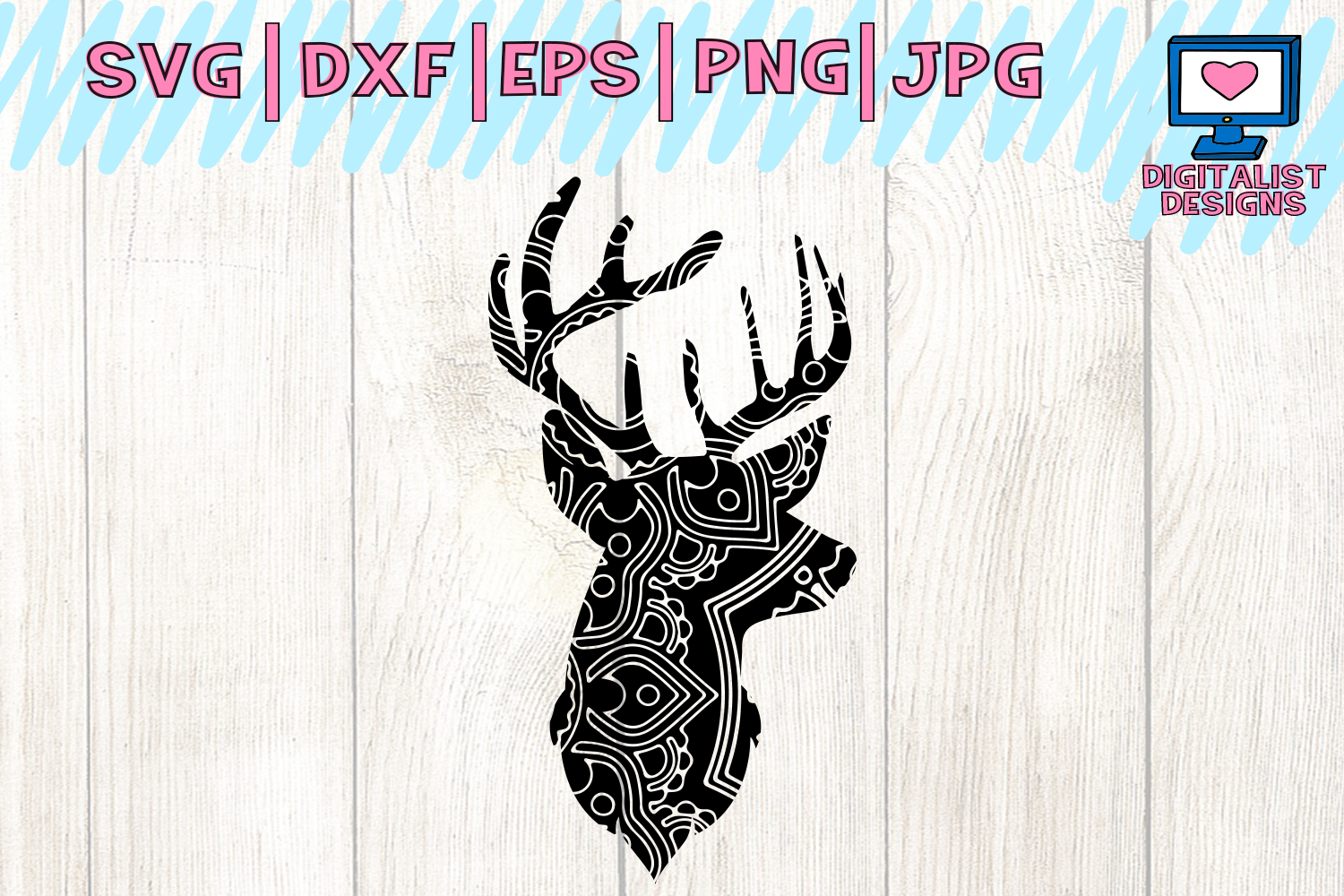 Download Free Mandala Deer Head Svg Graphic By Digitalistdesigns Creative for Cricut Explore, Silhouette and other cutting machines.