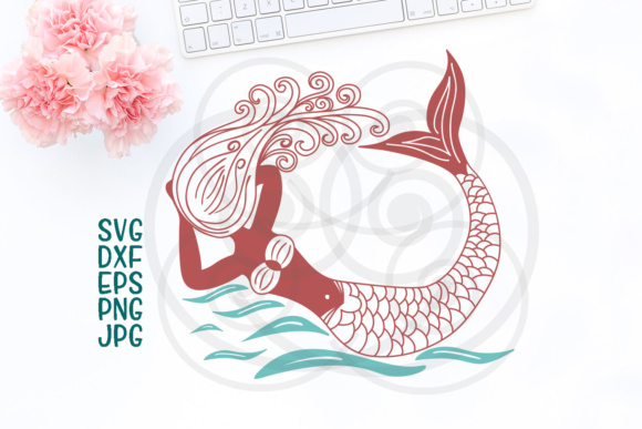 Download Free Hand Drawn Mermaid Graphic By Cornelia Creative Fabrica for Cricut Explore, Silhouette and other cutting machines.