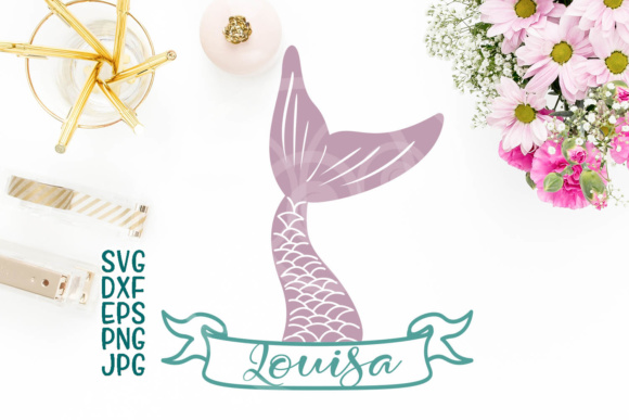 Mermaid Tail, Fish Tail File, Mermaid Tail Split Monogram, Banner, Ribbon, Horizontal Monogram for Name, Cricut Silhouette Graphic Crafts By Cornelia