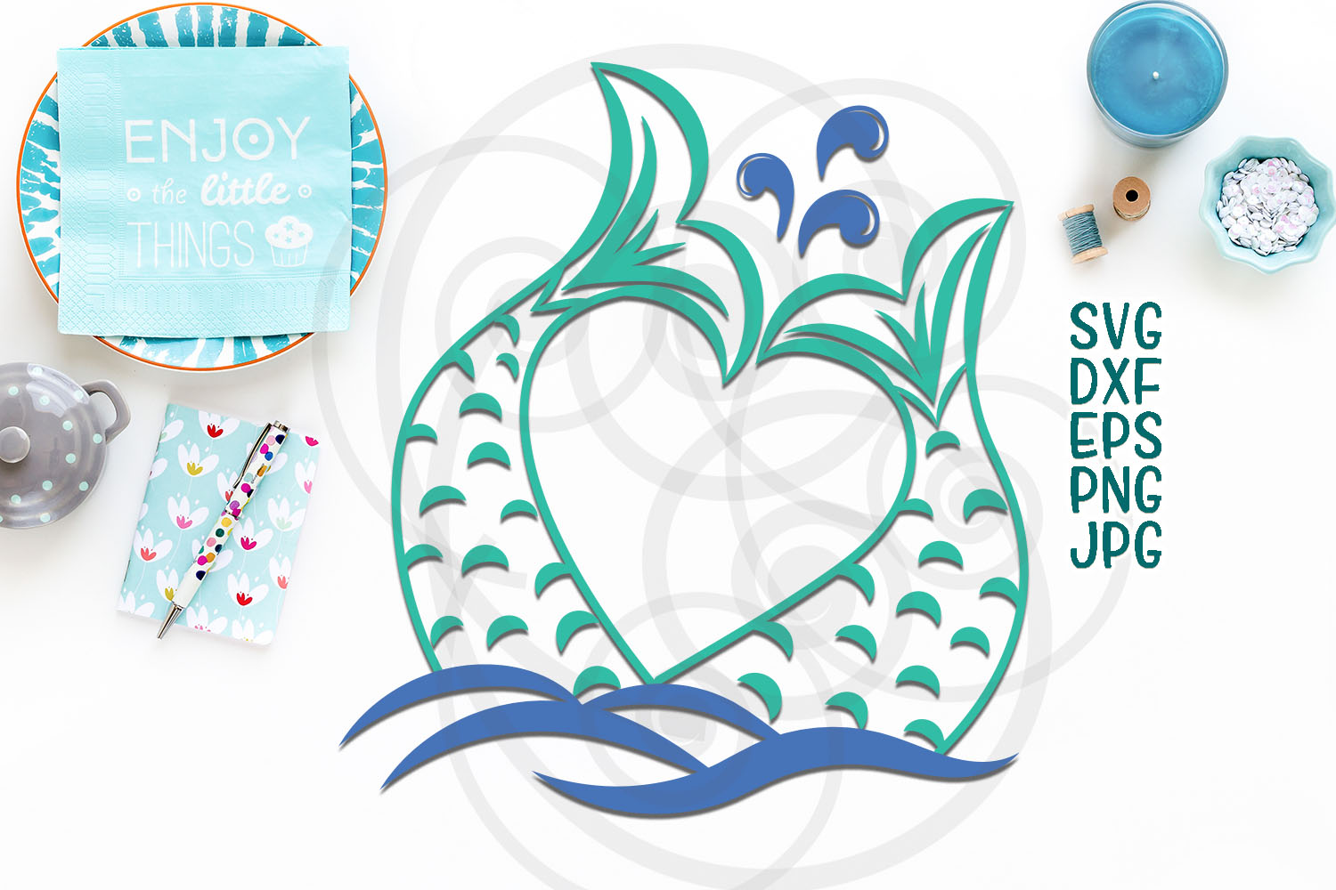 Download Free Mermaid Tail Graphic By Cornelia Creative Fabrica for Cricut Explore, Silhouette and other cutting machines.