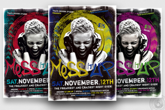 Mess It Up Flyer Template Graphic Print Templates By ThatsDesignStore - Image 2