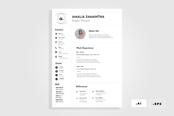 Minimal Resume / CV Graphic By TMint