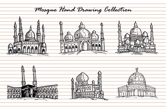 Mosque Hand Drawn Set Graphic Illustrations By emnazar2009