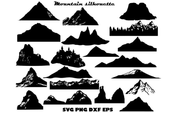Mountain Silhouette SVG DXF EPS PNG Graphic By twelvepapers