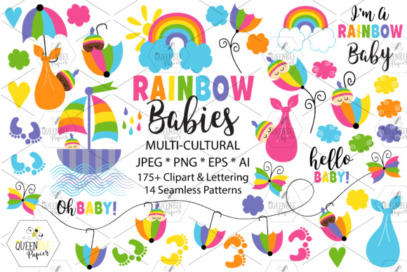 Multi-Cultural Rainbow Baby Clipart Graphic Illustrations By Queen Bee Papier
