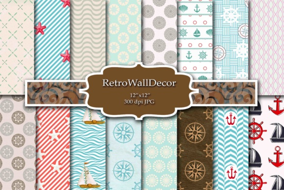 Print on Demand: Nautical Digital Paper Graphic Backgrounds By retrowalldecor