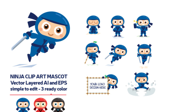 Ninja Vector Mascots Graphic Illustrations By backthemc