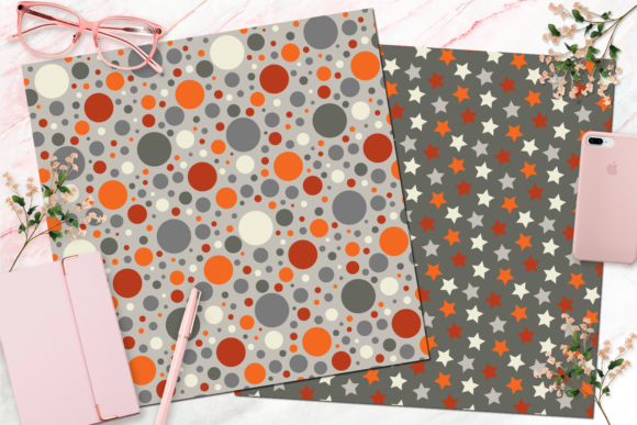 Orange, Red, & Grey Seamless Boy Digital Paper Graphic By Queen Bee Papier Image 3