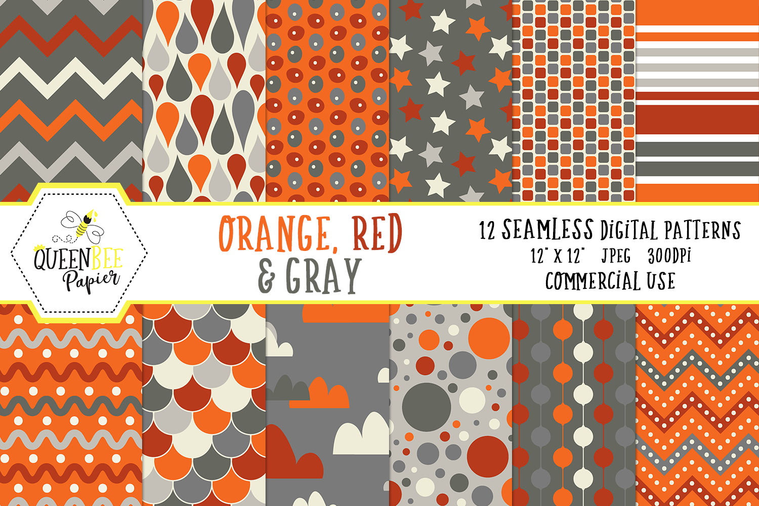 Download Free Orange Red Grey Seamless Boy Digital Paper Graphic By Queen for Cricut Explore, Silhouette and other cutting machines.