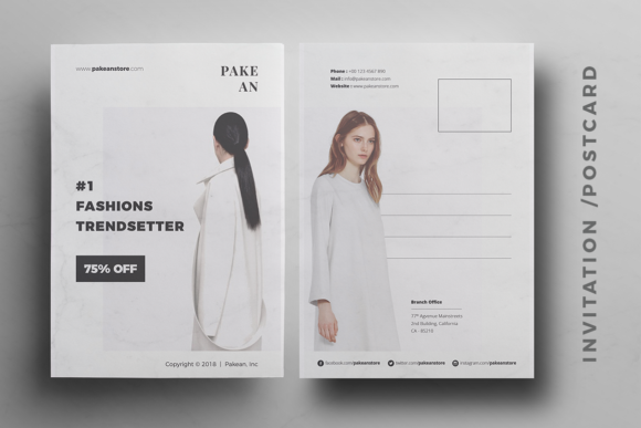 Print on Demand: Pakean Business Card & Post Card Graphic Print Templates By onedsgn - Image 4