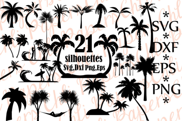 Palm Tree Silhouette Graphic Crafts By ChiliPapers