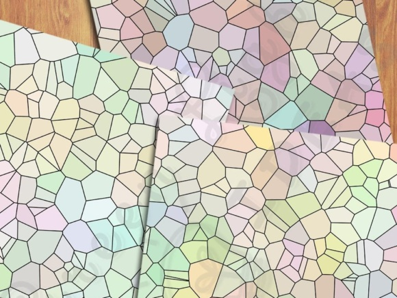 Pastel Color Palette Mosaic Digital Papers Graphic Backgrounds By GreenLightIdeas - Image 2