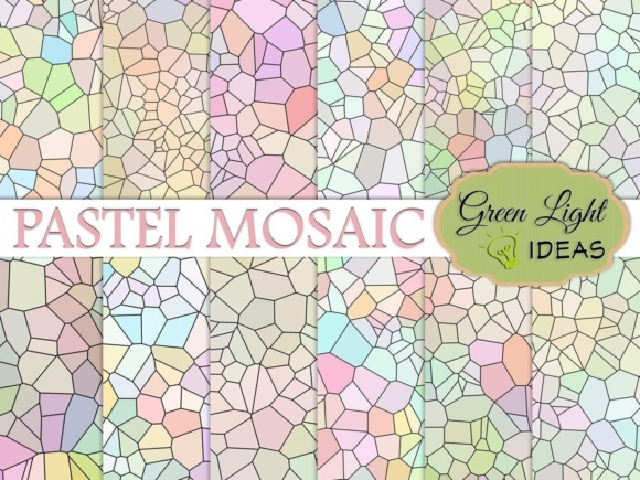 Pastel Color Palette Mosaic Digital Papers Graphic Backgrounds By GreenLightIdeas