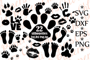 Print on Demand: Paw Prints Silhouettes Graphic Crafts By ChiliPapers